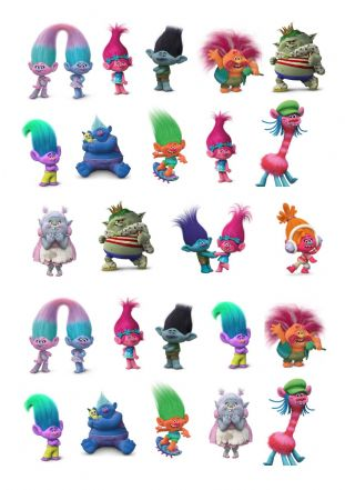Trolls  Stand Up Cupcake Toppers
